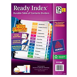 Avery Ready Index Table of Contents Dividers, 12-Tab Set, 6 Sets (11196)