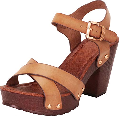 Cambridge Select Women's Retro 70s Studded Clog Crisscross Strappy Chunky Platform Block Heel Sandal (10 B(M) US, Beige PU)