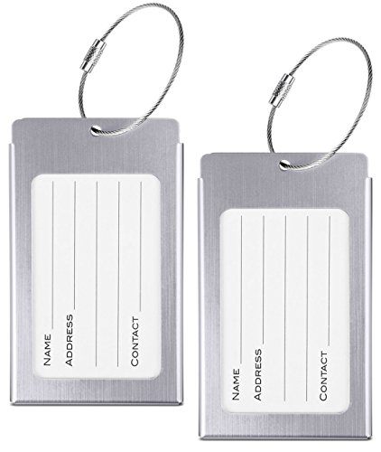 Luggage Tags, WeBravery Suitcase Labels Business Card Holder Travel Bag ID Metal Luggage Tag (Metal Luggage Tag)