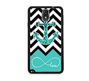 Shawnex Infinite Love Teal Glitter Anchor Samsung Galaxy Note 3 Case - Fits Samsung Galaxy Note 3 Note III