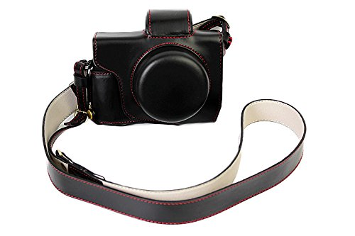 Leather Olympus Black Case (Full Protection Bottom Opening Version Protective PU Leather Camera Case For Olympus OM-D E-M10 Mark 3 EM10 Mark III with 14-42mm F3.5-5.6 EZ lens Black)