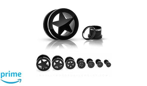 Piercing PFTK19-X - Túnel para oreja, diseño de estrella, color negro: Amazon.es: Deportes y aire libre