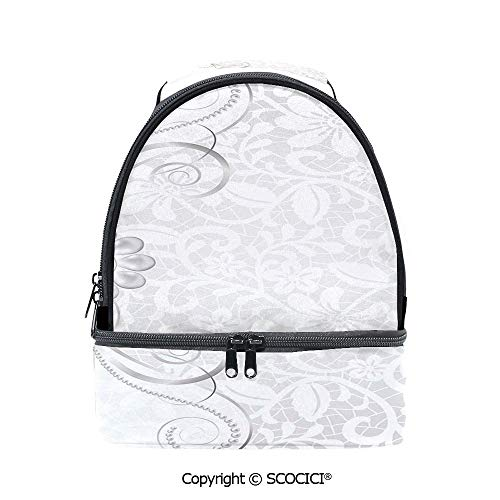 SCOCICI Large Capacity Durable Material Lunch Box Lace Inspired Flourish Motifs Background with Bridal Flower Border Wedding Theme Multipurpose Adjustable Lunch Bag