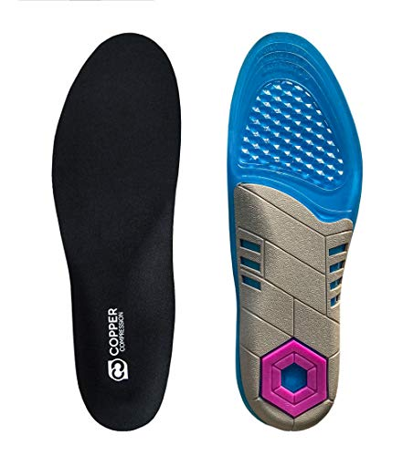 Copper Compression Gel Shoe Insoles for Men + Women. Guaranteed Highest Copper Inserts for Shoes. Work Boot and Shoe Insole with Orthotic Cushion Memory Gel. Insert for Feet, Heel, Ball of Foot, Arch