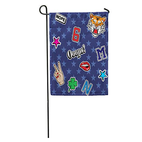 Semtomn Garden Flag Tiger Patch Badges in 80S 90S Star Letter Pattern Emblem Home Yard House Decor Barnner Outdoor Stand 12x18 Inches ()