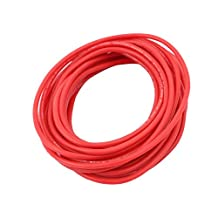 uxcell® 5M 22AWG 10KV Electric Copper Core Flexible Silicone Wire Cable Red for RC