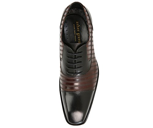 Leather Burgundy Shoes Two Lace Toe Zig Oxford Asher Stitched Green Dress Mens Style AG523 Cap Zag Tone Up nwqTT1CfU