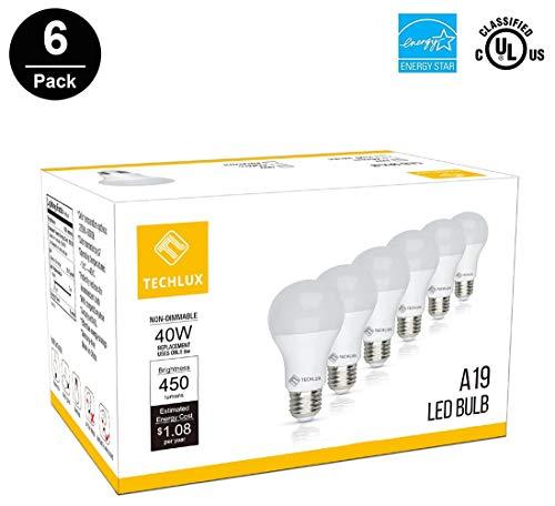 TECHLUX A19 6W LED Lights Bulbs(40 Watt Equivalent),2700K Soft White,Energy Efficient,LED Lighting Reading/Work Lamp for Indoor Dining Room Bedroom Household,E26 Base,Pack of 6 (40 Lightbulb Watt)