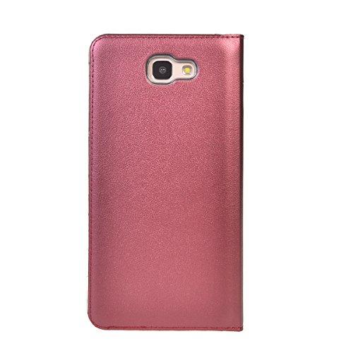 Galaxy On5 2016 Funda,COOLKE Diseño de ventana Flip Funda Con Soporte Plegable Carcasa Funda Tapa Case Cover para Samsung Galaxy On5 2016 - Rose Oro Rojo