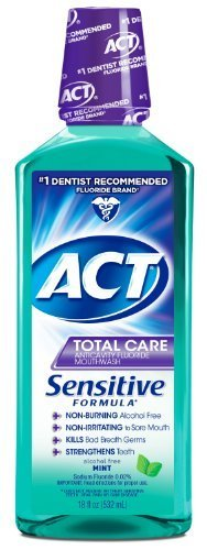 ACT Total Care Anticavity Fluoride Mouthwash, Sensitive Formula Mint, 18 Fluid Ounce by ACT by ACT