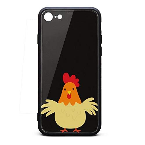 Chicken Clipart - Phone Case for IPhone6 Plus/iPhone6s Plus Cute Chicken Clipart Cute Anime Tempered Glass Black Anti-Scratch TPU Rubber Bumper Shock Skin for Women Back Cover