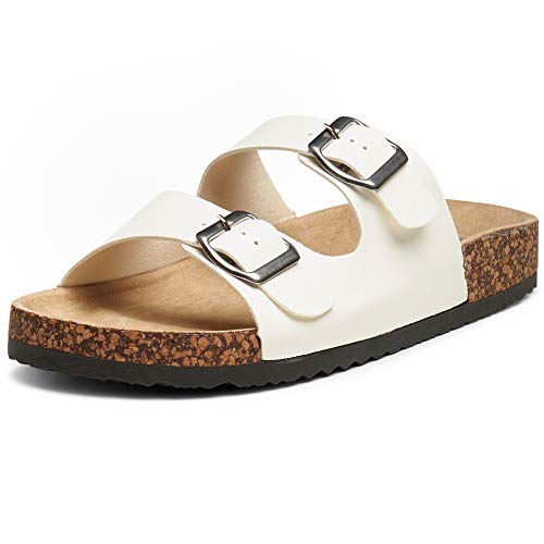 alpine swiss Womens Casual Double Strap Slide Sandals White 10 M US ()