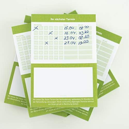 Terminblock Terminblöcke Terminzettel nächster Termin für Ärzte, Kosmetiker, Frisör & Co je Block 50 Blatt (grün, 10 Stück)