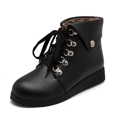 Soft Low Solid Lace Boots up top Heels Material AgooLar Low Black Women's F1pxnt