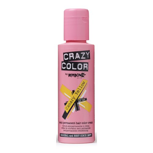 🥇 Crazy Color Canary Yellow Nº 49 Crema Colorante del Cabello Semi-permanente