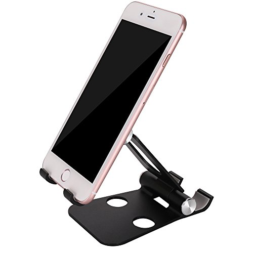 Cell Phone Holder for Desk, KUTHSIC Cell Phone Stand Tablet Stand for iPhone 8/8 Plus, iPhone X, iPhone 7/7 Plus, Samsung Galaxy and other Smart Phones and Tablets(Black) by KUTHSIC
