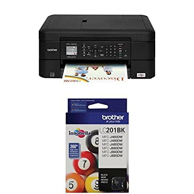 Brother Printer MFCJ460DW Wireless Color Inkjet Printer with Scanner, Copier & Fax, Amazon Dash Replenishment Enabled and Standard Yield Black Ink Cartridge
