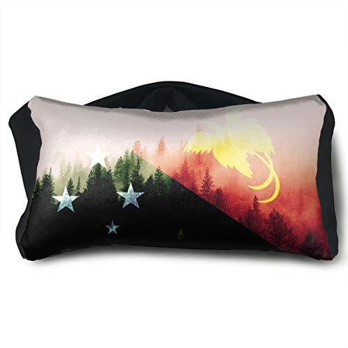 SUNNMOON Papua New Guinea Flag with Forest Neck Travel Pillow Support Scarf Voyage for Airplane Eye Mask, Travel Pillow and Eye Mask Washable Pillows