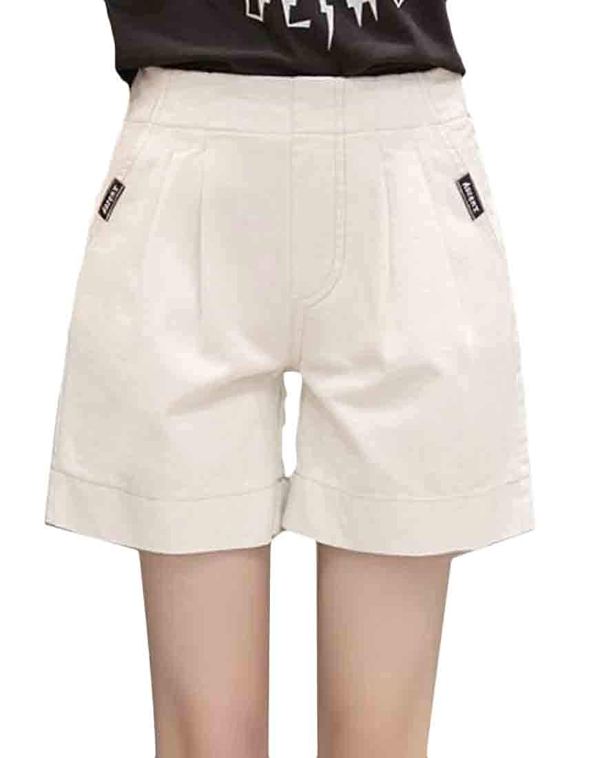 pipigo Womens Classic Elastic Waist Pocket Pleated A Line Wide Leg Short Pants