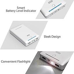 Portable Charger RAVPower External Battery Pack 16750mAh 4.5A Dual USB Output External Battery Power Bank (iSmart Technology) - White