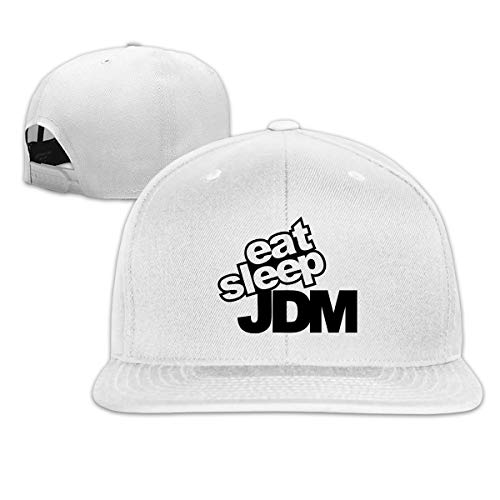 - Fashion Cool Eat Sleep JDM Unisex Flat Baseball Cap for Outdoor or Indoor White