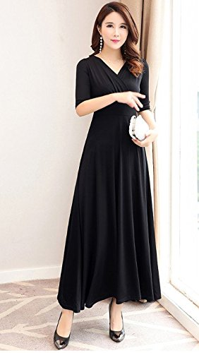 Taille split Longue Haute Jupe Courtes Robe Femme Black five 2018 sleeves Grand Robe Manches V Jupe Robes MiGMV 8xS7aq0wz