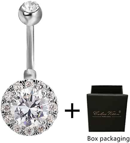 Calors Vitton Silver Plated Round Cubic Zirconia Navel Piercing Belly Rings