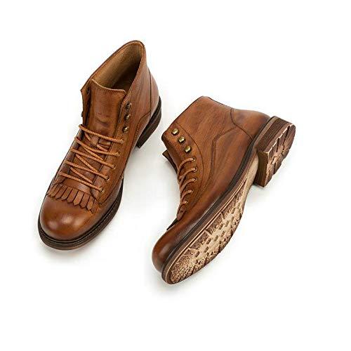 Yao Herbst Winter Vintage Style Quaste High Männlichen Stiefel Lässige Mode High Quaste Cut Lace up Echtem Leder Stiefeletten Für Männer (Farbe : ROT, Größe : 42 EU) Braun 8dabe5