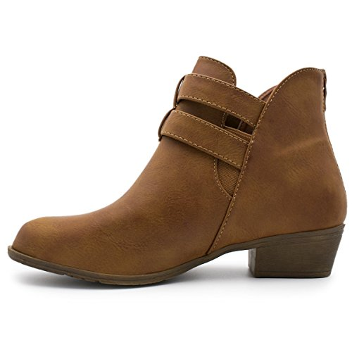 Top Moda Frauen Side Zip High Block Heel Ankle Booties Premier Tan *