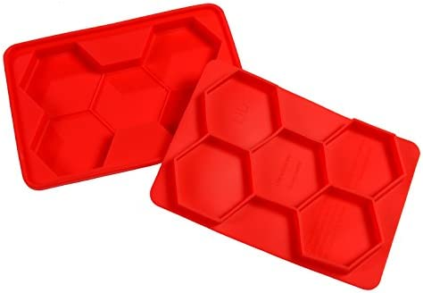 5 in 1 Hexagon Burger Press Nonstick Flexible Red Silicone BBQ Patty Mold