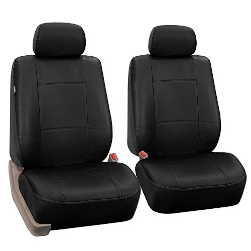 FH Group PU002BLACK102 Black Faux Leather Front Bucket Seat Cover, Set of 2 Airbag ()