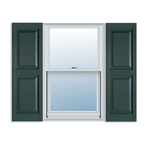 15 Inch X 63 Inch Standard Raised Panel Exterior Vinyl Shutter Heritage Green Pair Budget