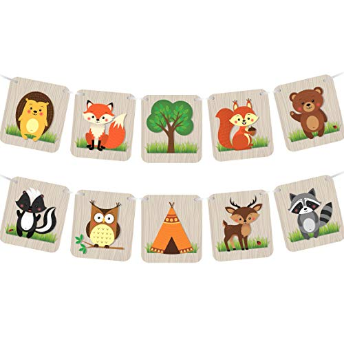 (Woodland Animals Banner - Baby Shower Nursery Decorations Supplies or Camping Birthday Party - Forest Creatures (LARGE))