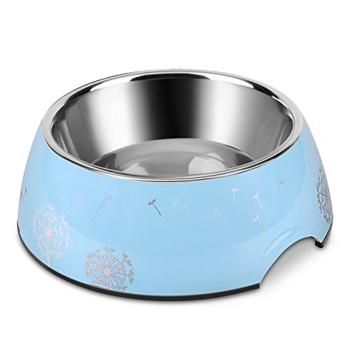 Flexzion Stainless Steel Pet Bowl - Anti-Slip Rubber Base Dog Cat Feeder, Dishwasher Safe & Rust Resistant with Removable Food Water Holder up to 24 Ounce (Dandelion)
