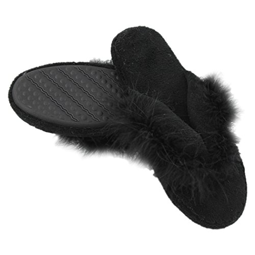 Flops Diamond Slip Home Fleece Indoor Spa Slippers Slipper House Black Flip Womens Non Soft Thong rYOwzxaqY