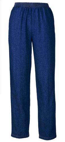 Cotton Denim Slacks - Pull On Style with Elastic Waist For Dressing Ease - Wide Range of Sizes (16, dark wash)