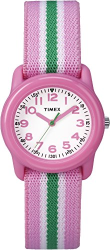Timex Girls TW7C05900 Time Machines Analog Resin Pink/Green Stripes Elastic Fabric Strap Watch