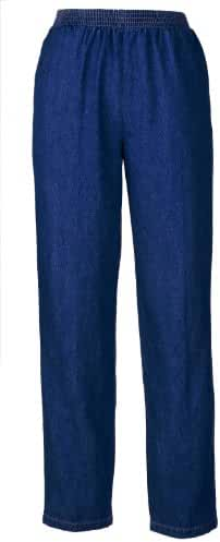 Denim Slacks - Elastic Waist For Dressing Ease