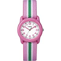 Timex Kids TW7C05900 Pink Resin Watch with Pink/Green Striped Elastic Fabric Strap
