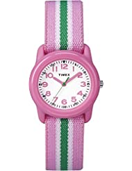 Timex Kid's TW7C059009J Girl's Pink and Green Stripe Analog Watch
