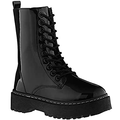 ILLUDE Women's Lace-Up Combat Boots Round Toe Ankle Bootie Chunky Platform Combat Boot (5.5, Black Patent)