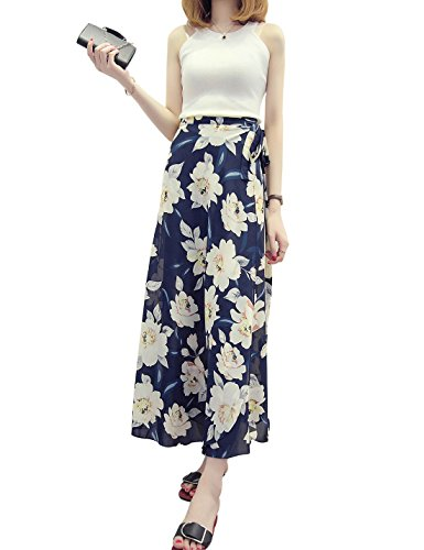 Double Up High Wrap (Jenkoon Women's Tie up Long Maxi Vintage Floral Print Wrap Maxi Skirt (Floral-7, Free Size))