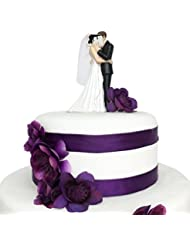 Wedding Cake Topper Funny & Romantic Groom And Bride kissing Behind Book Figurine