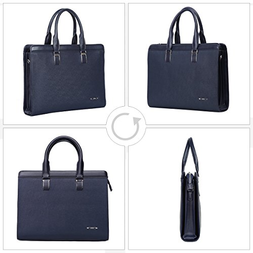 Leathario Damen Herren Ledertasche Umhängetasche Aktentasche Laptoptasche Arbeitstasche Businesstasche Messenger Bag (Blau) Hellblau MRVfh8Z3H3