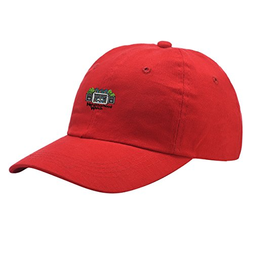 Neighborhood Watch Red Washed Dyed Peaked Hat Embroidered Logo Adjustable Fish Cap