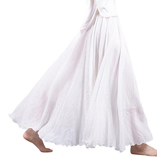 Femme Elastique En Coton Lin Tour de Taille Elastique Lache Jupe Maxi Longue Blanc