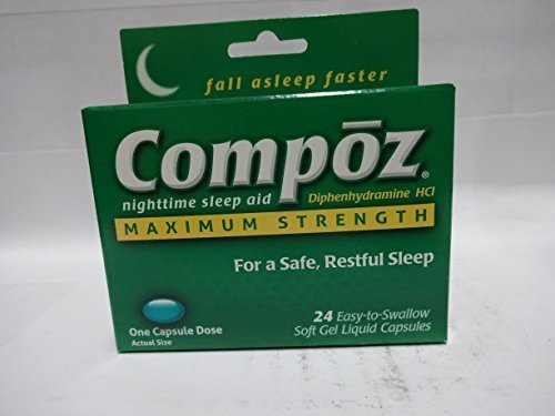 Compoz Nighttime Sleep Aid, Maximum Strength, Soft Gel Liquid Capsules, 24 Count (Pack of 6) by Compoz by Compoz