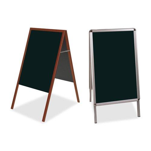 Bi-silque Wet-Erase Sign Board, Reversible, 24''x41'', BLK/Aluminum, Sold as 1 Each