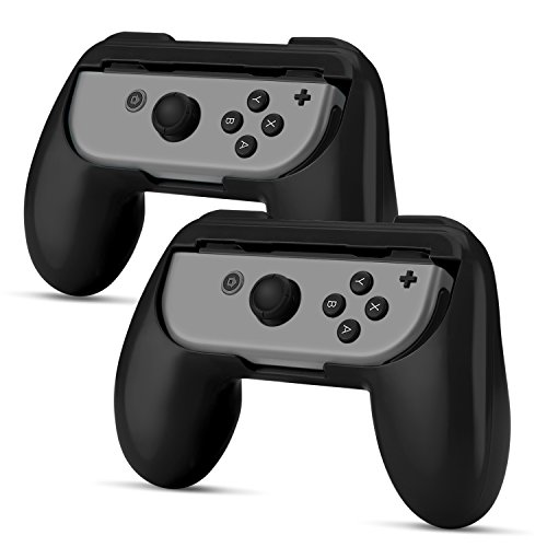TNP Nintendo Switch Joy-Con Grip (2 Pack) - Comfortable Grip Wear Resistant Joy-Con Handle Game Controller Kit Accessory for Nintendo Switch (Black) - Nintendo Switch