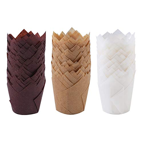 Ruisita 150 Pieces Mini Baking Cups Tulip Baking Cups Cupcake Liners Muffin Liners for Wedding, Birthday, Christmas, Baby Shower Parties (Brown, Natural, White)